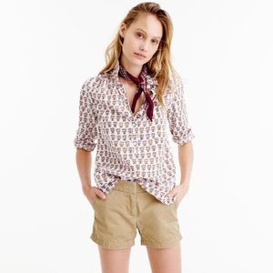 J. Crew 0 Gathered Popover Shirt in Indian Cotton